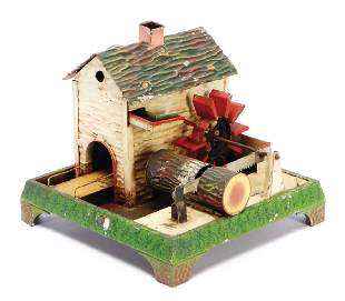 DOLL water mill with sawmill handpainted sheet metal