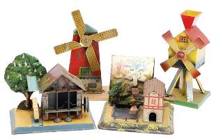 4 pieces drive models water mill with stone smashing