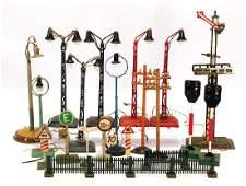 big mixed lot, train decoration pieces, lamps, signals,