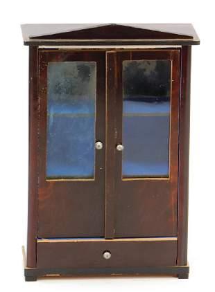 Biedermeier glass cabinet 165 cm with drawer down