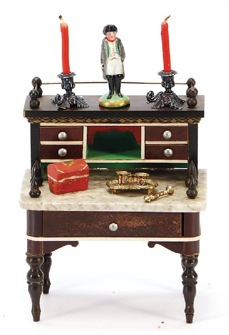 small Biedermeier writing desk with marble top, height: