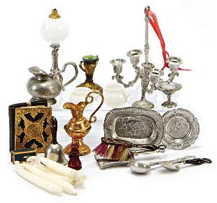 mixed lot of dollhouse decoration pieces bell for