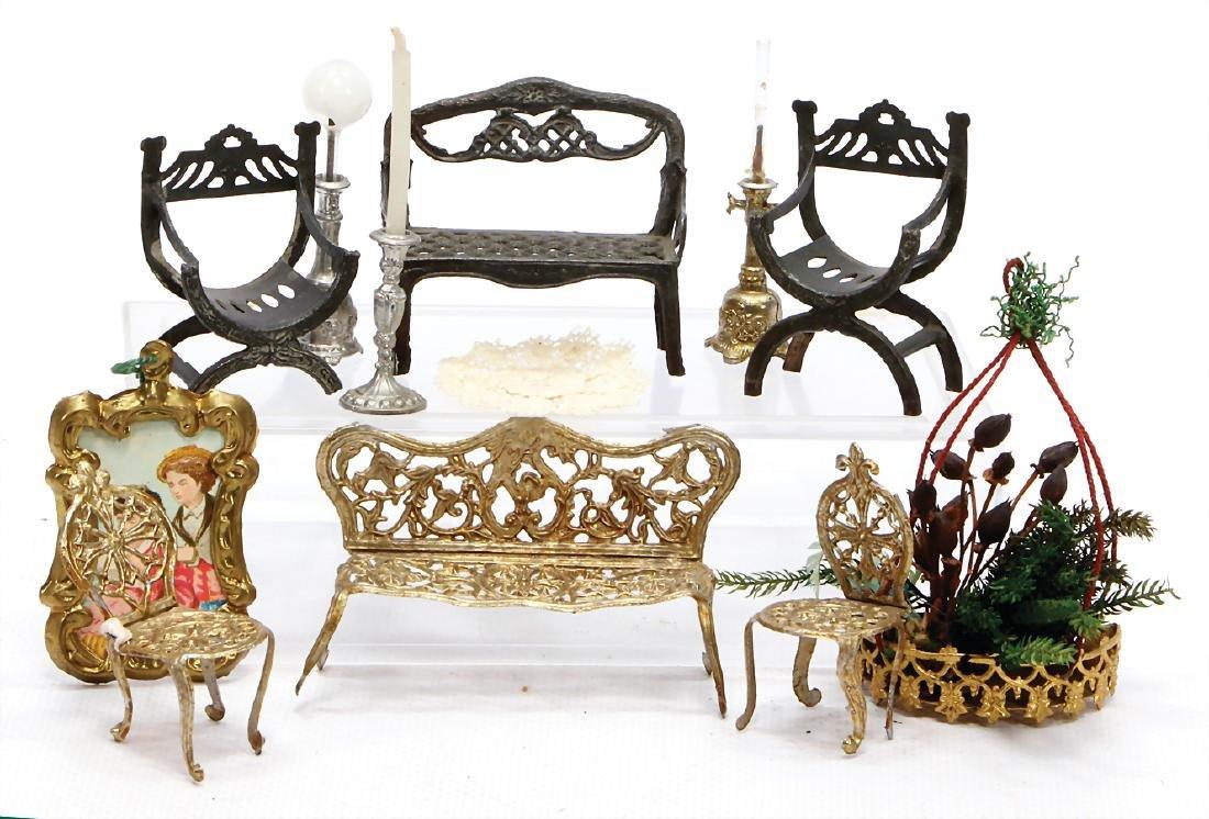 dollhouse decoration pieces, tin, living-room suite,