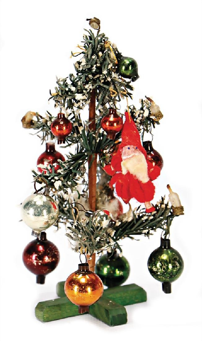 dollhouse christmas tree, decorated with glass parts,
