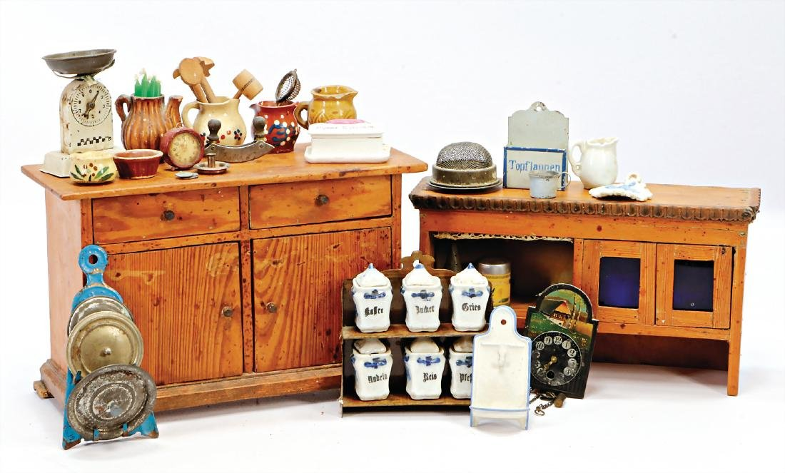 kitchen cupboard with richly accessories, height of