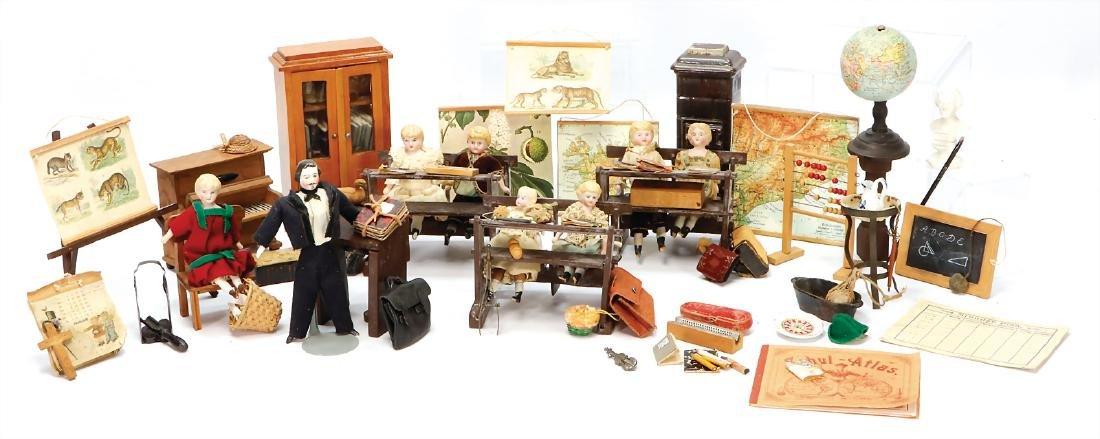 dollhouse school, furniture, decoration pieces,
