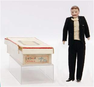 dollhouse doll man with moustache and dinner jacket