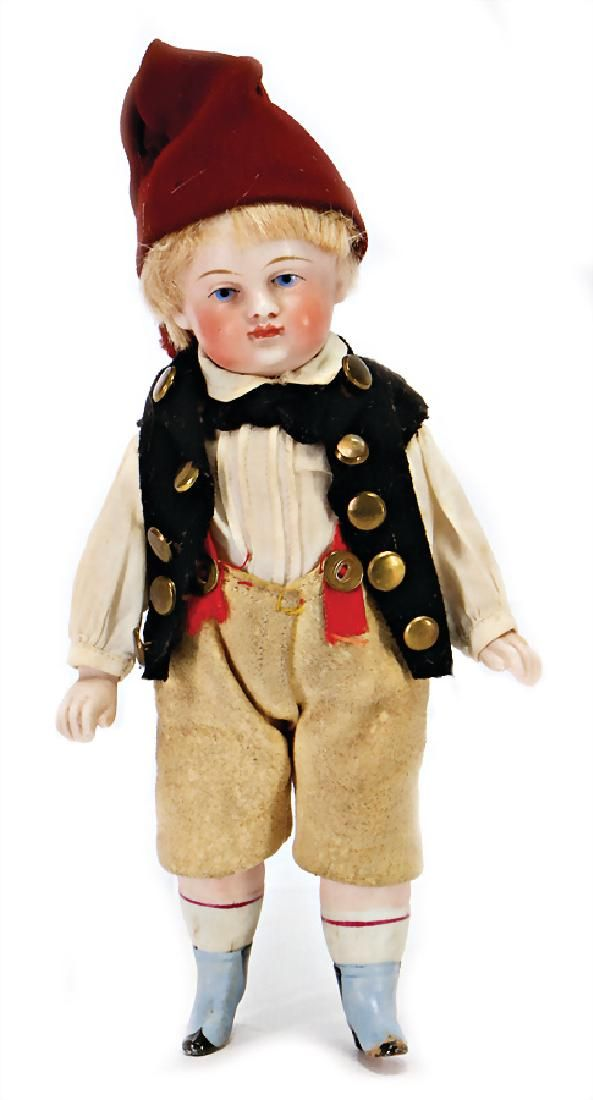 all-bisque doll, Belton-type, small character boy, 15.5