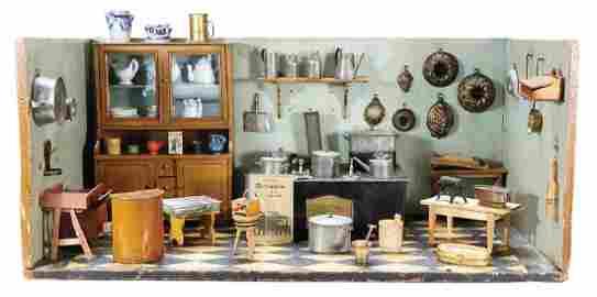 Puppenstuben-Küche, ca. 1880, B: 86,5 cm, H: 43 cm, T: