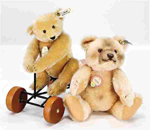 STEIFF 2 Bären, Replica, 1x Record-Teddy, mit Knopf u.