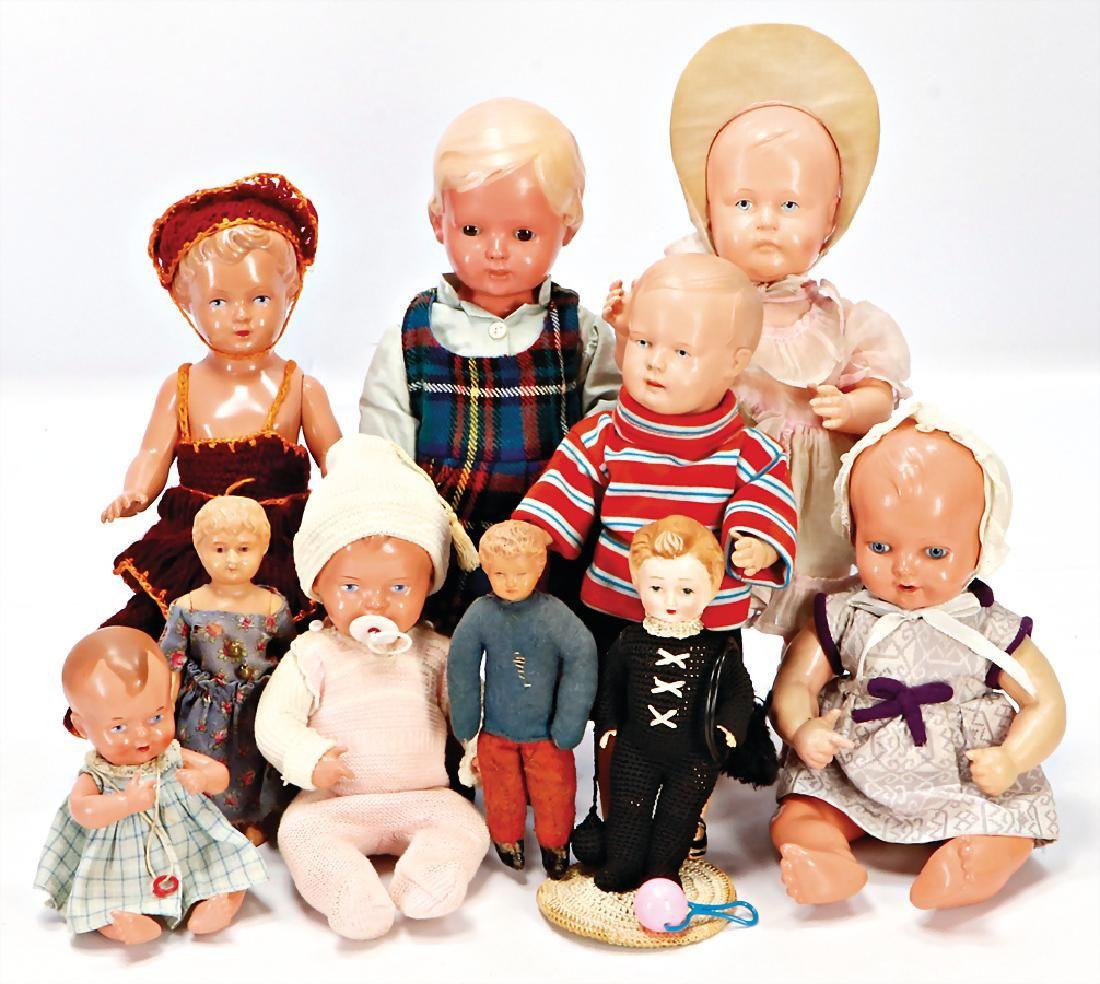 SCHILDKRÖT Schönes Konv. Celluloid-Puppen, darunter SiR
