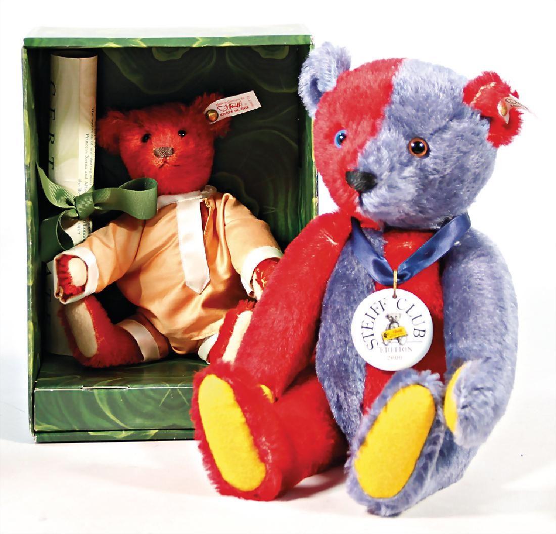 STEIFF 2 Bären, 1x Teddy-Bär, Harlekin, Replica 1925,