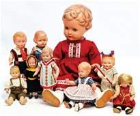 Konv. Celluloid-Puppen, darunter SCHILDKRÖT Ursel, 56