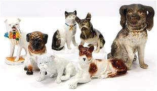 Konv. Porzellan-Hunde, sowie 1 Katze, glasiertes