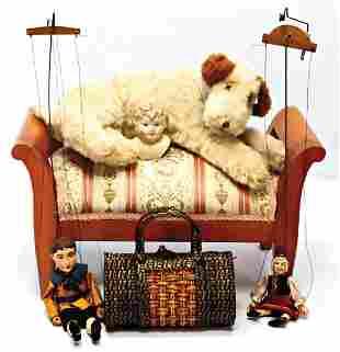Puppen-Hocker, Biedermeier, neu bezogen, B: 44 cm, H: