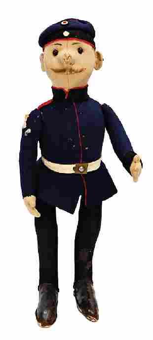 STEIFF felt doll, policeman, 38 cm, felt, button eyes,