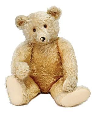 STEIFF bear, c. 1930, 70 cm, long snaped off arms,
