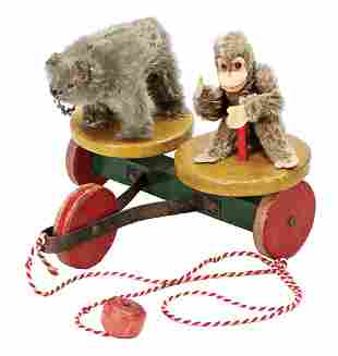 STEIFF Rolly-Drolly, towing vehicle, wood, chimpanzee