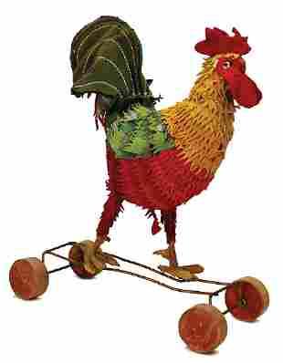 STEIFF cock, on wooden wheels, c. 1920, height: 33 cm,