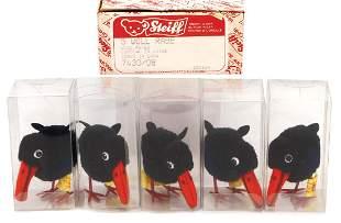 STEIFF original box 5 pieces wool ravens number