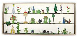 tin, arbour, figures, flat, 3.5 cm, poultry and