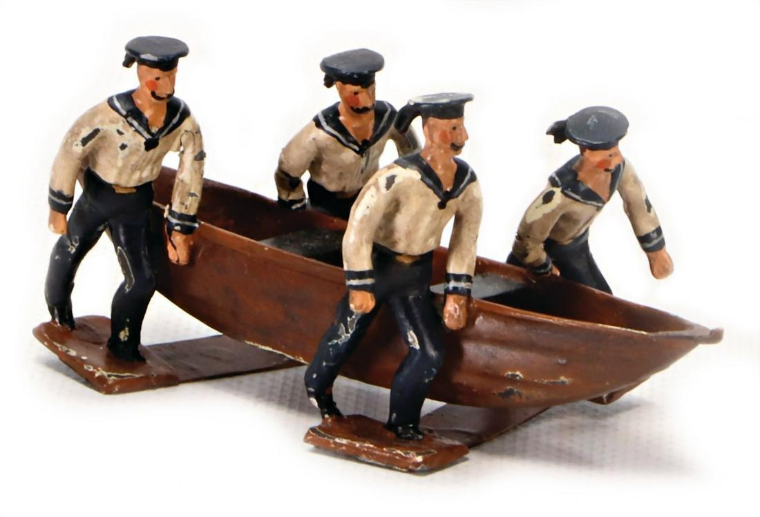 plastic tin compositional figures, sailors, carrying a