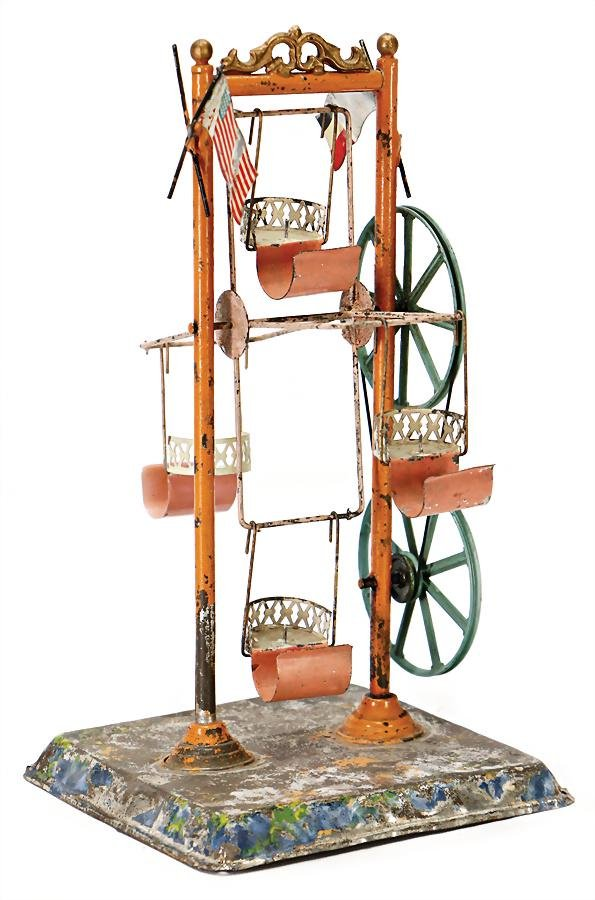 small ferris wheel, handpainted sheet metal , age-old,