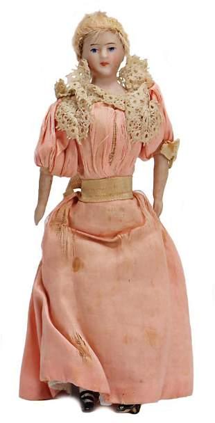dollhouse doll porcelain 16 cm real hairwig