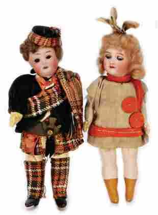 2 pieces dollhouse dolls Scot bisque socket head fix