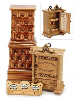 3 pieces dollhouse accessories stove ceramic 20 cm
