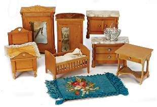 dollhouse furniture pear tree bed 125 cm 2 bedroom
