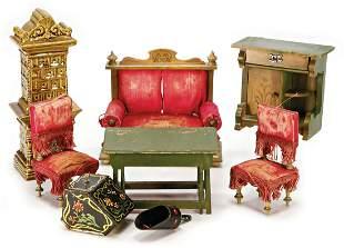 mixed lot of dollhouse furniture art nouveau sofa