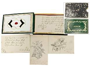 autograph book 1848 writing illustrations German