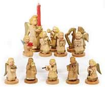 ERZGEBIRGE SCHUMANN, '30s, angel figures, wood, carved,
