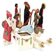 treasure chest, ceiling lamp, angel, wood, 35 cm, 1