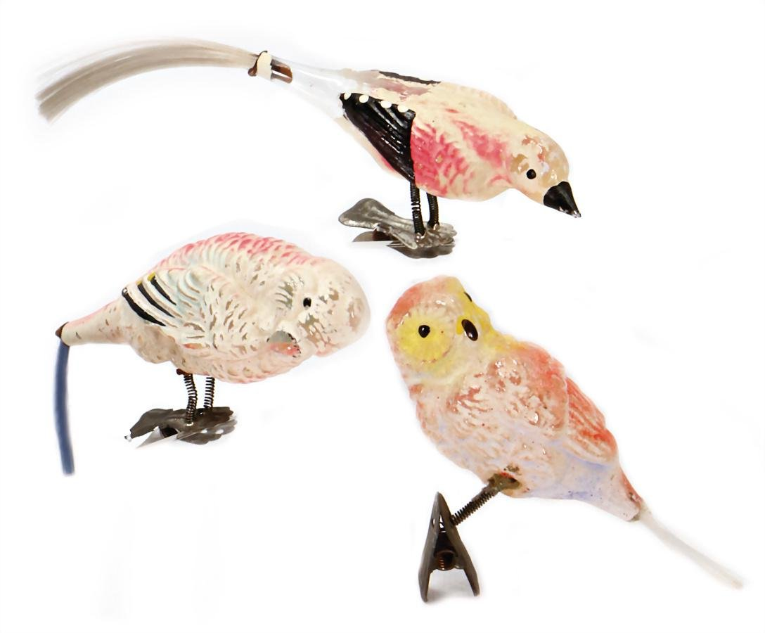 Christmas tree decoration, 3 parts birds, frosted glass