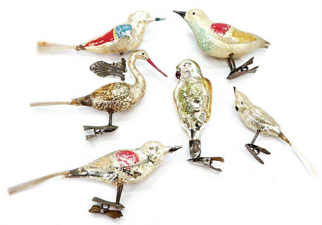 Christmas tree decoration, 5 pieces, birds, with clamp,