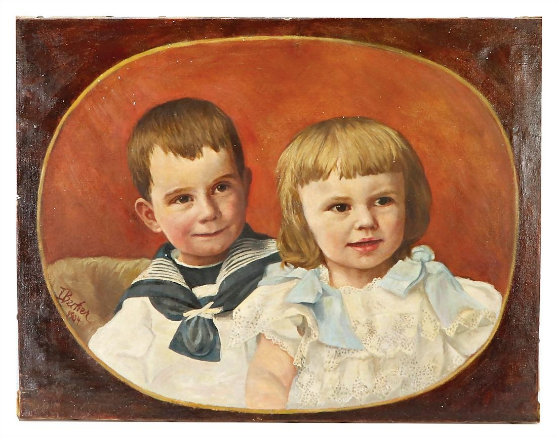 portrait siblings, children, oil on canvas, signed I