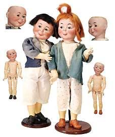 K&R Max & Moritz, pair of character dolls of