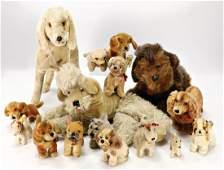 Konv. 15 Plüsch-Hunde, meist STEIFF, einige mit Knopf