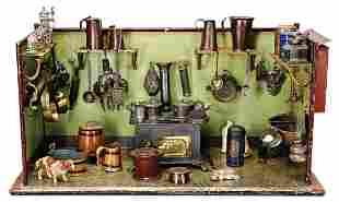 BING dollhouse kitchen, sheet metal, handpainted, c.