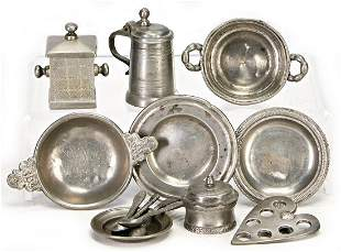9 pieces tin early turned by hand 19th century