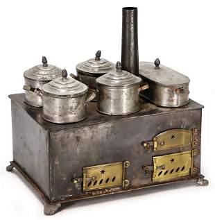 dollhouse stove c 1890 tinplate width 26 cm