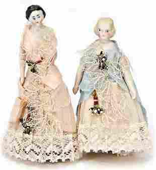 2 pieces Biedermeier dolls 95 and 11 cm 1x bisque
