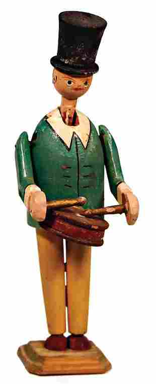 wooden figure colored drummer with moveable parts