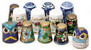 mixed lot of thimbles porcelain and ceramic 13
