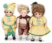 3 pieces, all-bisque dolls, 2 small Googlys, 11.5 cm,