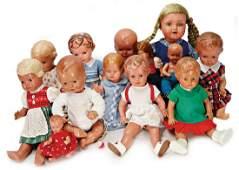 SCHILDKRÖT Konv. 13 Celluloid-Puppen, alles bespielt,