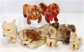 STEIFF 7 Hunde, alles bespielt, darunter 2x Waldi, 1x
