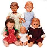 5 Celluloid-Puppen, 1x SCHILDKRÖT, Mädchen, gem. 43,
